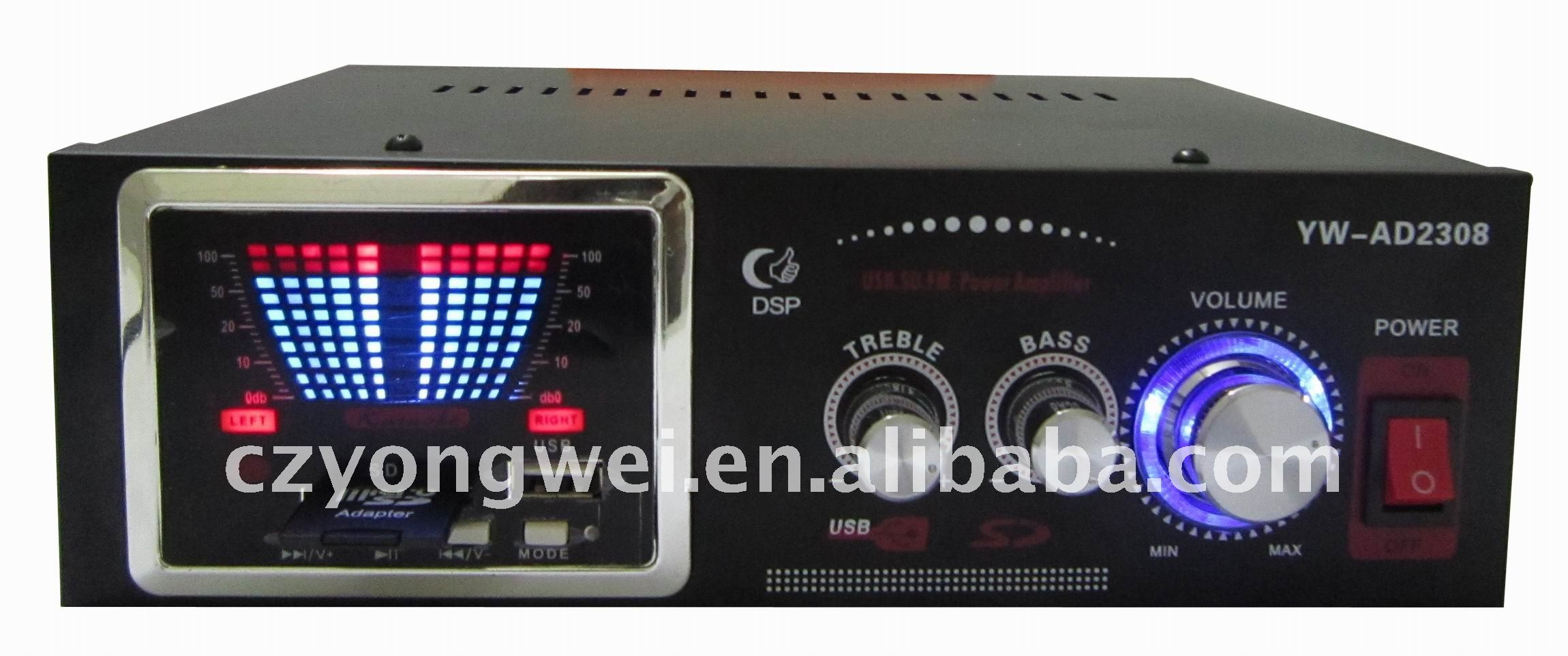 YW-AD2308 usd/sd digital karaoke amplifier mini karaoke amplifier