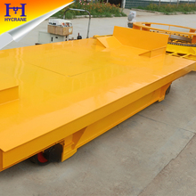 Four wheel electric transfer cart flat cart at steel plate workshop
