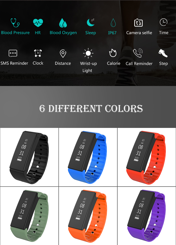 health bracelet with Heart rate/Blood Oxygen/patent model smart watch new product