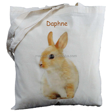 personalised rabbit natural cotton shoulder bag