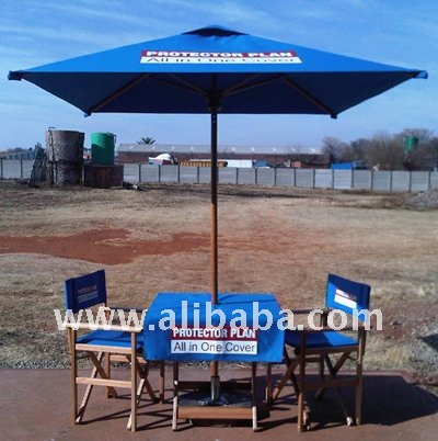 Advertising set - wooden umbrellas, folding table and directors chairs (Saligna)