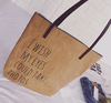 Kraft paper color long PU leather handles cotton canvas bag