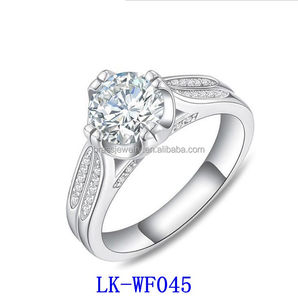 Trendy White Gold Plated Imitation Diamond Engagement Rings Jewelry Women 925 Sterling Silver
