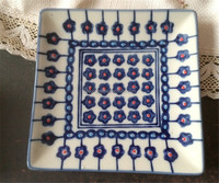 blue glazed decal snack plate cake plate
