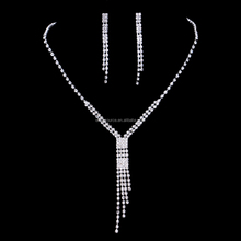 One Piece Dress Accessory Necklace Set Crystal Chain Necklace Earring Set Wedding Party Prom Jewelry