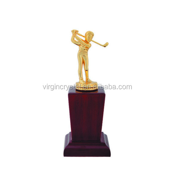 Nice creative metal golf theme figurine trophies golden for sports awards gifts