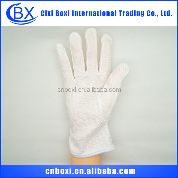 High quality white cotton glove with PVC dots on palm,work glove,industrial glove