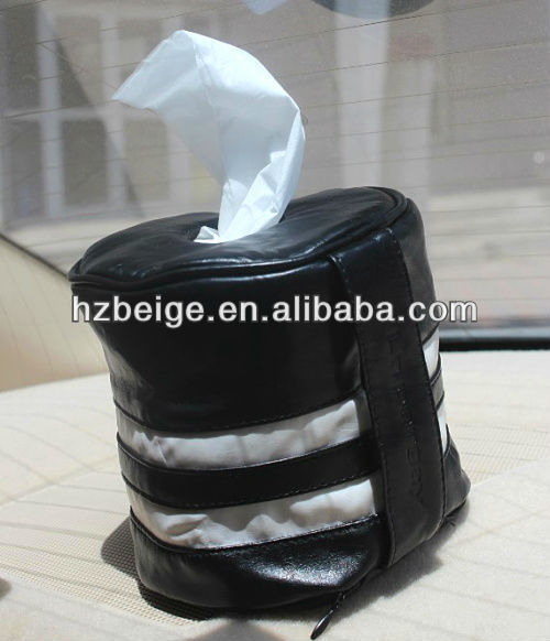 New designed Italy style round toilet paper pumping barrels bag ,pu toilet paper bag