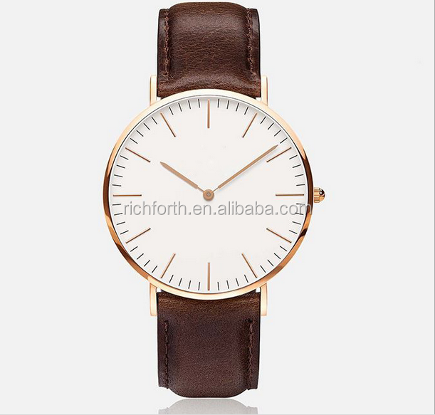 New Design Leather Unisex Wrist Watch for Promotional Gifts