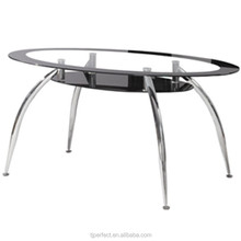 promotion Modern best price Oval black Tempered glass top dining table with Chromed leg PDT14932