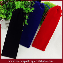 3.5*17.5cm Various Colors Promotional Velvet Bag With Drawstring for Pen Packaging