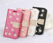 2014 Hot sale wallet leather case for Samsung galaxy note 3 with rhinestone