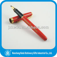 Red surface famous metal brands pen with logo