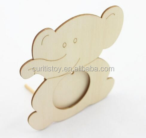 Child paintting hand toys create DIY wooden animal fish bear design laser board cartoon a mini photo frame pictures
