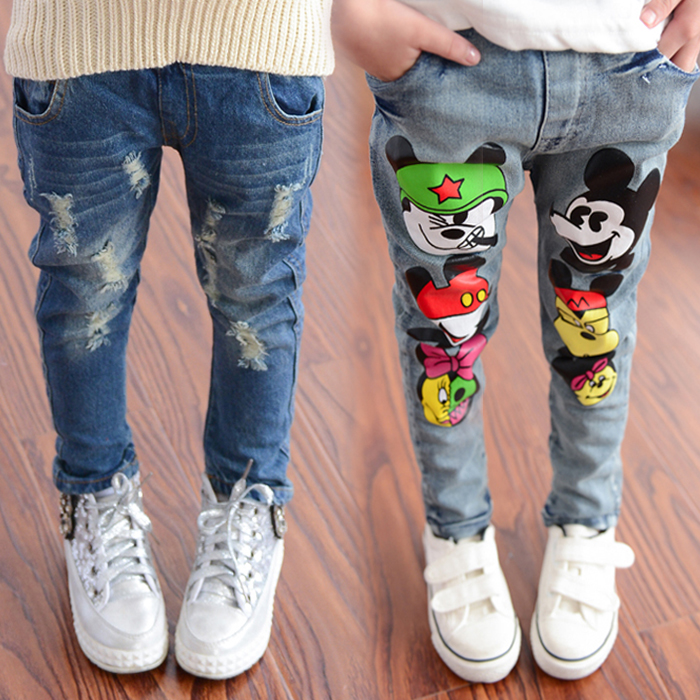 Spring Online Shopping Fashion Style Kids Young Girls Leggings Jeans