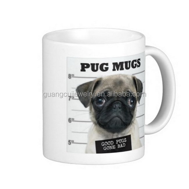 White ceramic coffee mug with custom logo