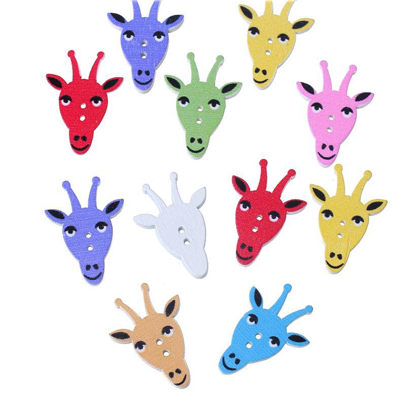 "Wood Sewing Button Scrapbooking Giraffe At Random Two Holes 30.0mm(1 1/8"") x 22.0mm( 7/8""), 50 PCs"