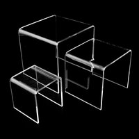 transparent clear acrylic shelves risers Retail Stores Acrylic Step Riser