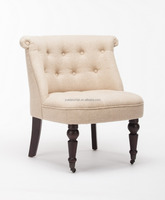 Wooden Upholersted Accent chair with buttons