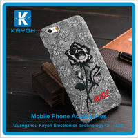 [kayoh] 2016 Beatiful red Rose Embroidery Phone Case for iPhone 6 phone holder