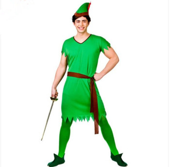 Mens Deluxe Robin Hood Pan Medieval Fancy Dress Costume Adult Outfit + Hat AB925