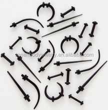 Super Mix of Black Tapers, Plugs, Horseshoes And Curved Ear Tapers Body Piercing Jewelry