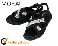 MK160-1 2016 BLACK new design china factory wholesale flat stone chain sandals shoes women