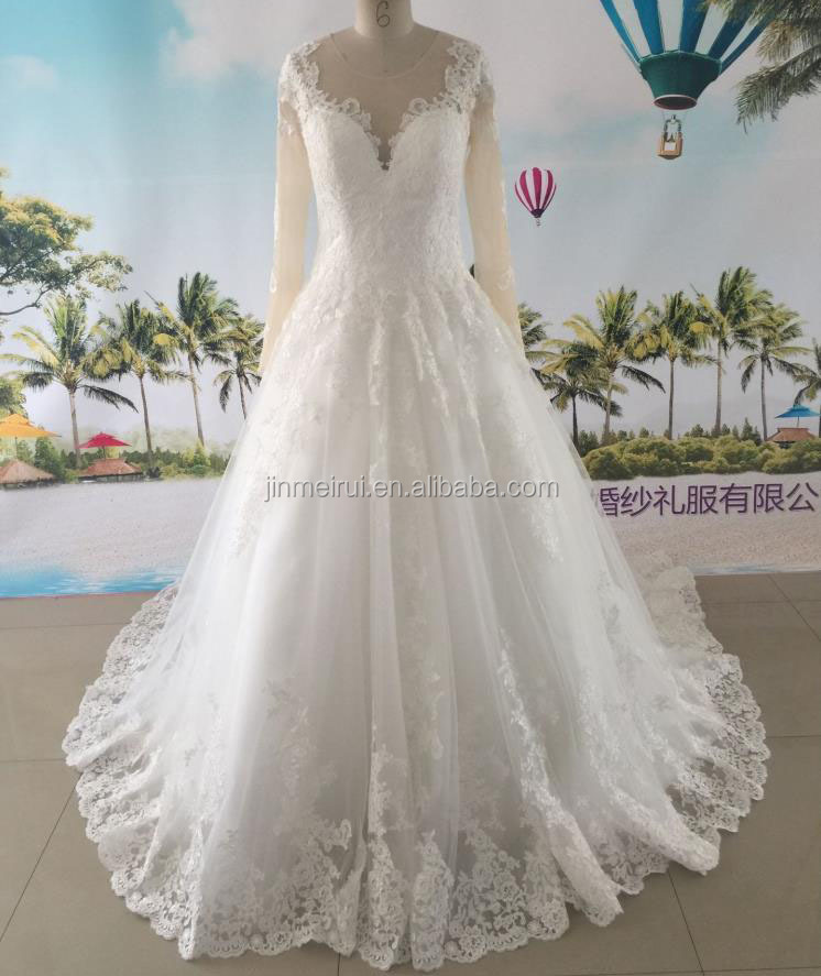 New Arrivals Wedding Dresses Scoop Neck Long Sleeves Appliiques Tulle Long Train