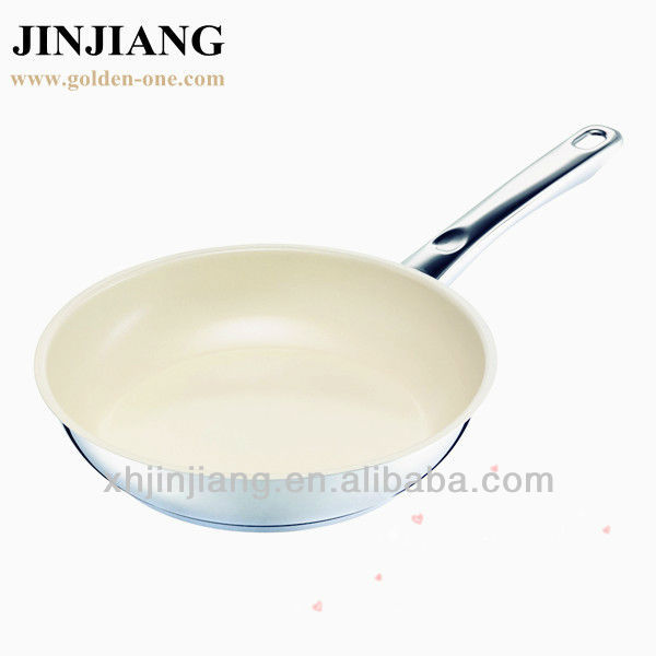 white ceramic Stainless Steel non stick Frying Pan