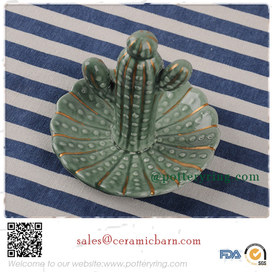Wedding Gifts Cactus Figurines for Ceramic Crafts Jewelry Rack Ring Holder Decration