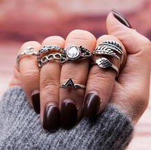 7 Pcs/set Bohemian Vintage Silver Plated Knuckle Nail Midi Finger Moon Leaf Latest Design Ladies Rings