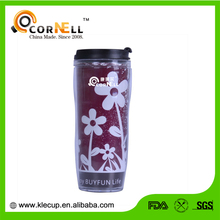 Cheap Promotional Flower Paper Insert Coffee Mug with double wall tumbler plastic