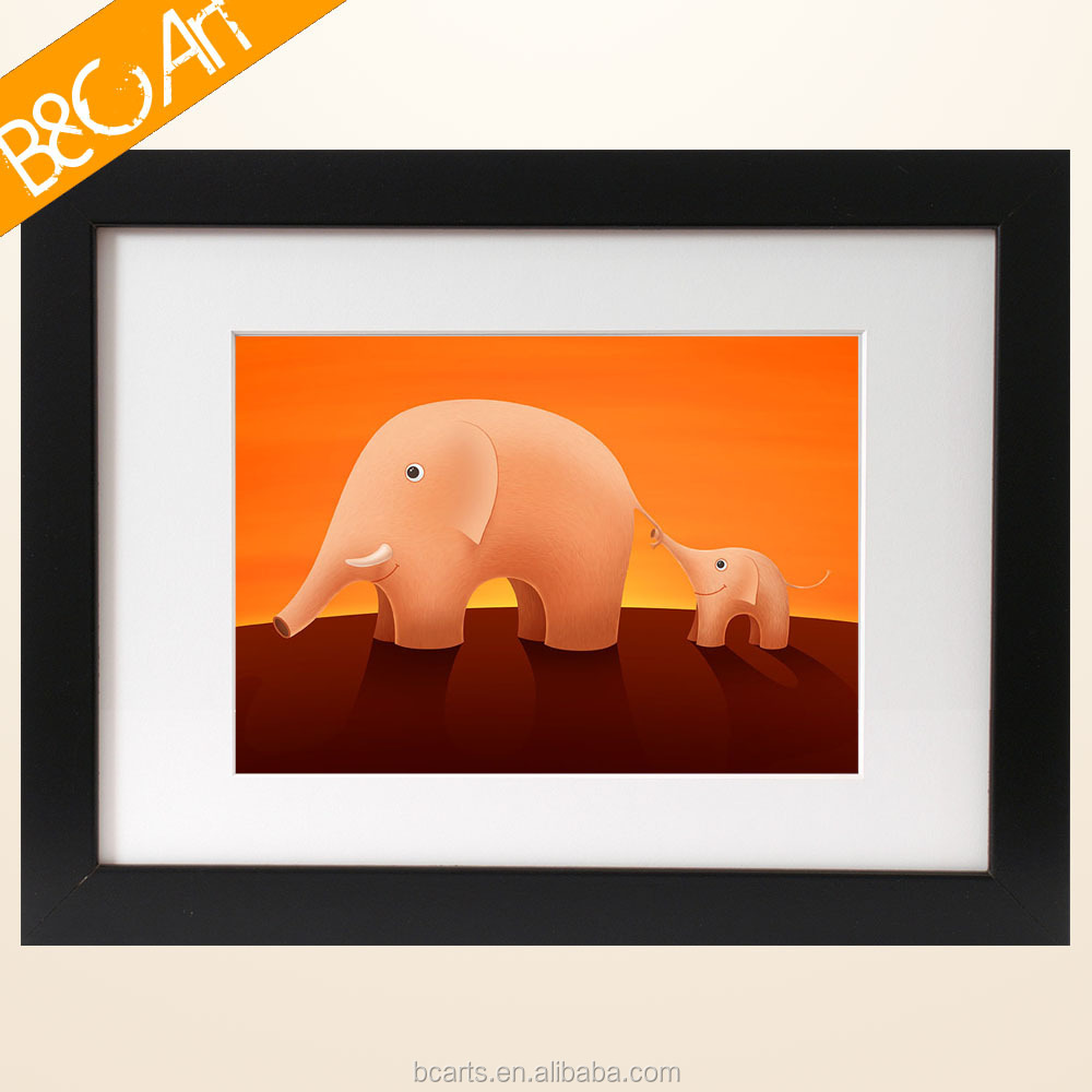 Diy digital cartoon elephant paintings for kids room decor