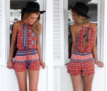 Mujeres sexy Bohemian Halter backless jumpsuit rompers shorts