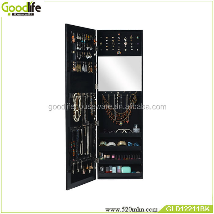 Home deco wooden mirrored jewelry cabinet in many colors