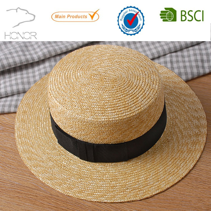 Latest fashion sun block straw plaited article summer boaters hat