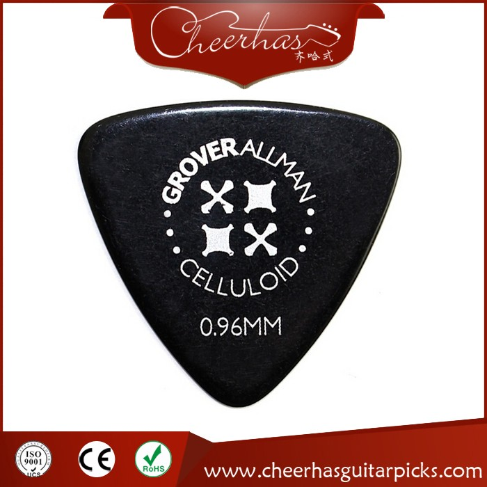 0.96mm triangle celluloid custom guitar picks with white printing