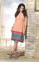 Triveni Elegant Light Orange Colored Embroidered Faux Georgette Kurti 2012