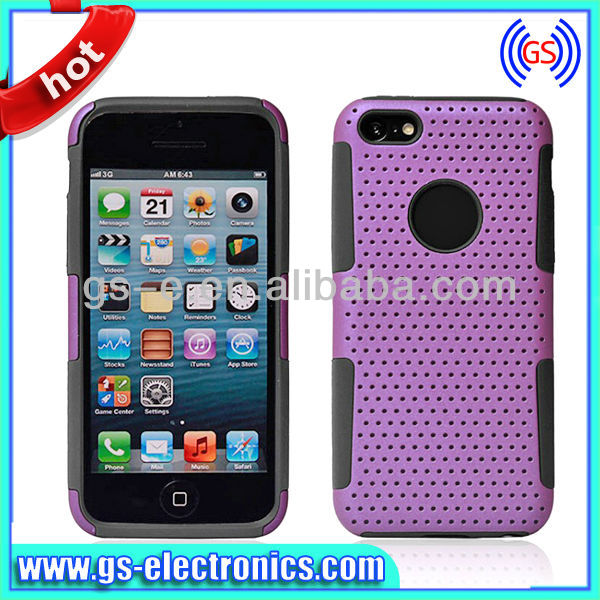 New 2013 Hybird Double Layer Soft Rubber Hard Plastic Combo Mesh Case for Iphone 5C