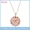 Aliexpress jewelry yiwu products multi color crystal necklace rose gold flower necklace designs