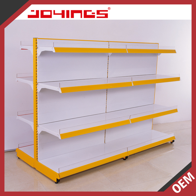 Double-Sided Hot Sale Floor Stand Metal Display Stand Commercial Gondola Supermarket Shelf