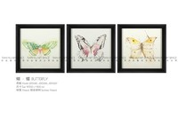 Unique design framed art restaurant wall decoration butterfly oil painting