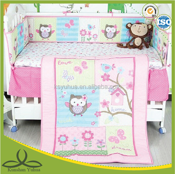 Baby 7pcs Crib Bedding Set Boy/Girl unisex Animal Christmas Gift Pink Woven Cotton