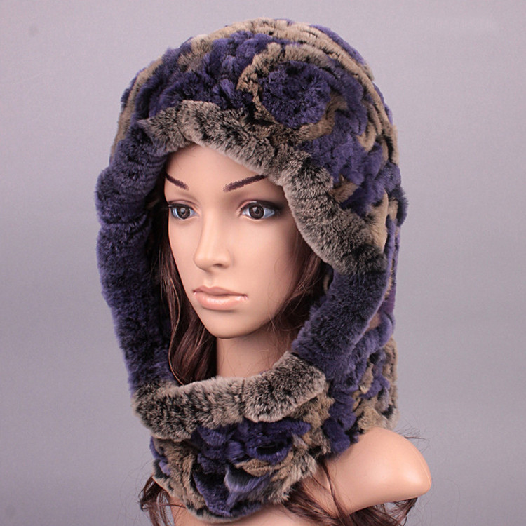 High Quality Russian Style Real Rabbit Fur Knitted Hat