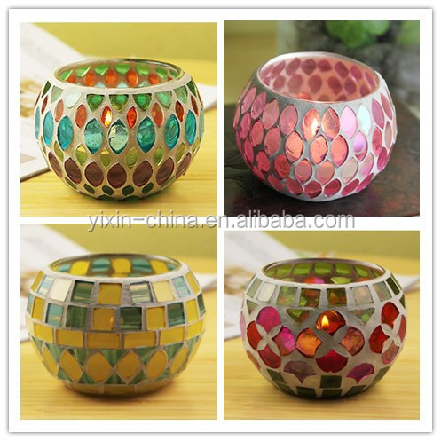 Round Ball Shape mosaic glass candle holder votive glass tealight holder