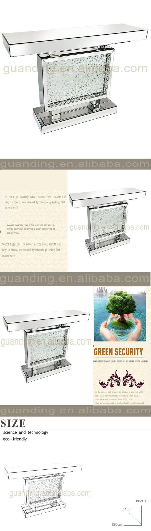 CONTEMPORARY VENETIAN MIRRORED GLASS FLOATING CRYSTAL CHROME DIAMOND CONSOLE TABLE