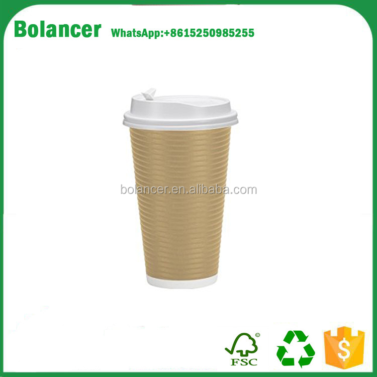 Bolancer Disposable Hot Paper Cups With Lids Double Wall & Ripple Insulation For Heat Protection| Perfect For Your Coffee Tea