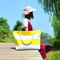 2018 newest fashion beach bag ladies outdoor stripe canvas liesure colorful rope handle tote bag
