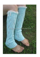 New wholesale 100% cotton stripe children lace Leg Warmers with button