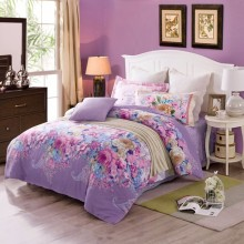 Purple Bedding Set With 100% Cotton Pillow Cover And Rose Pattern Quilt Set